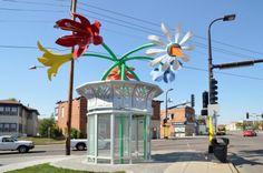 Bus Shelter - Blossoms of Hope 5 Points Plaza, Marjorie Pitz, Artist © Minneapolis Art in Public Places. Minneapolis, MN