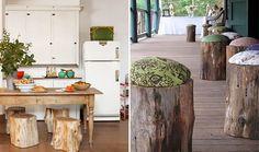 Troncos de árvore na decoração! Hoje quero compartilhar com vocês algumas ideias bem legais de como transformar troncos de árvores em decoração para casa!