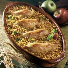 Baked Chicken with Apples and Barley.