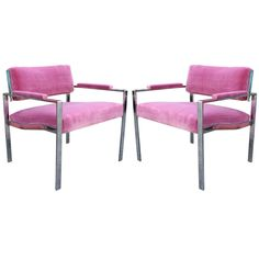 Glamorous Pair of Milo Baughman Style Pink Velvet Chrome Lounge Chairs | From a unique collection of antique and modern lounge chairs at https://www.1stdibs.com/furniture/seating/lounge-chairs/