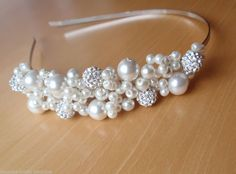 Handmade Bridal Side Tiara Alice Band White Crystal Disco Balls & Ivory Pearls in Clothes, Shoes & Accessories, Wedding & Formal Occasion, Bridal Accessories | eBay