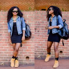 Timberlands and skirts #timberland #fashioninspiration #styleinspiration @karenmorales98