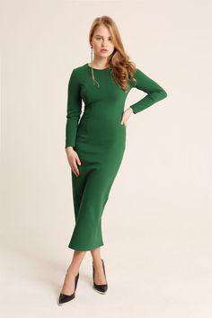 Green maxi dress. Bodycon dress. Long sleeve by OverTheSeadress fcb76fcce