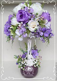 """Купить Топиарий """"Песня леса"""", дерево счастья - фиолетовый, топиарий, топиарий дерево счастья"""
