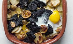 In the black: Nigel Slater's potato and black pudding recipe. Photograph: Jonathan Lovekin for the Observer