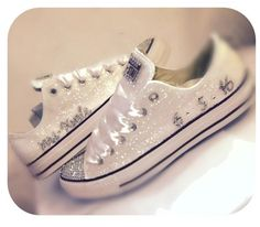 $15 OFF with code: PINNED15 Sparkly White Glitter Crystals Converse All Stars Wedding BRIDE SHOES Prom sneakers