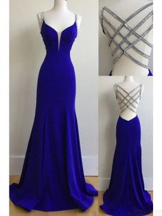 royal blue long mermaid prom dress, charming evening dress, PD4115