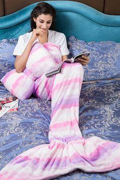 Stripe Pink Flannel Blanket Mermaid Christmas Gift for Her mermaid,mermaid blanket,mermaid tail,mermaid tail blanket,flannel mermaid blanket,pink mermaid blanket,christmas gift,mermaid sleeping bag,stripe mermaid blanket