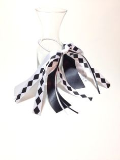 Harlequin Hair Ribbon, Mardi Gras Hair Ribbons, Black & White Hair Bow, Costume Hair Accessories, Goth Hair Ribbon, Monochrome Hair Bow by FlyingCraneRibbons on Etsy