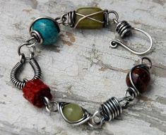 wire wrapped bead bracelet by fanjaala