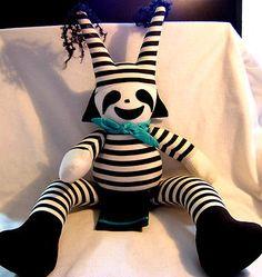 Hopi Hano Koshare Clown Stuffed Doll 17t W/movable Arms & Legs Not A Kachina