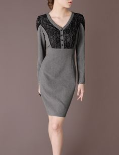Chieflady Grey Dress Lace Top