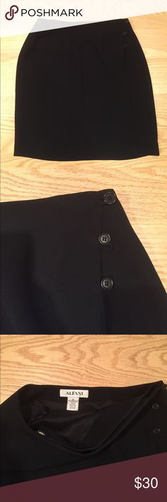 Alfani Black Mini Skirt with Side Buttons - Sz 10 Alfani black mini skirt with side button closure. Size 10. Great condition just no longer fits me. Alfani Skirts Mini