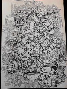 drawing engine,art Мотор. Рисунок мотора. Автор Любимов Алексей/Autor Alexei Lubimov Биомеханика Дизельпанк Стимпанк.