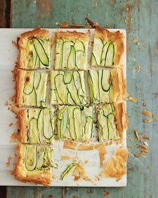 Zucchini Tart, Recipe from Martha Stewart Living, August 2011  Sounds good, just leave out either the milk or the heavy cream & lower the calories.