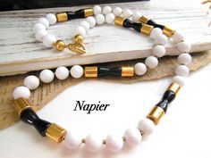 Vintage Napier Chunky Black White Gold Bead Modernist Chic Long Necklace Q23