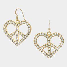 Crystal Peace Symbol Heart Earrings