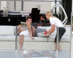 Shirtless Simon Cowell at celeb hot spot St. Barts