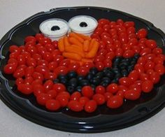 Elmo Veggie Tray - Madelyn's Daddy actually did this for her birthday part. It turned out great.
