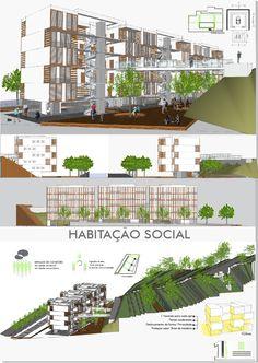 prancha 1 Social Housing Architecture, Architecture Program, Architecture Presentation Board, Architecture Student, Facade Architecture, Residential Architecture, Hotel Floor Plan, Green Facade, Mix Use Building