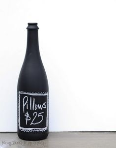 Use old bottles and paint with chalkboard paint. How fun!