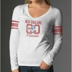 Official New England Patriots ProShop - Ladies '47 Brand Homerun L/S Tee-White