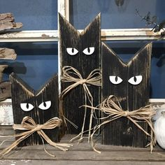 Made to order Wood Cats. These make great shelf sitter between your fall / ha ., Made to order Wood Cats. These make great shelf sitter between your fall / hal . Fall Wood Crafts, Halloween Wood Crafts, Outdoor Halloween, Diy Halloween Decorations, Holiday Crafts, Rustic Halloween, Fall Wood Projects, Painted Wood Crafts, Primitive Fall Crafts