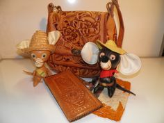 Vintage Mexican Handmade Tooled Rose Brown Leather Shoulder Bag. $45.00 Dolls not included.  Just posted on Ebay@tastyJunk and Etsy!..:)