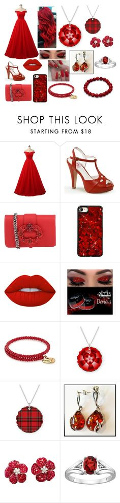 """""""Red Princess"""" by daddysgielforeveralways ❤ liked on Polyvore featuring Pinup Couture, Ermanno Ermanno Scervino, Lime Crime, Alex and Ani and La Fleur Jewels"""