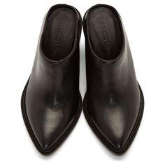 Helmut Lang Black Leather Schist Mules