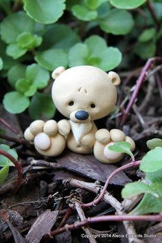 Micro Tan Teddy Bear OOAK Polymer Clay by CanterberryTails