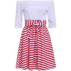 Off The Shoulder Striped Flare Dress ($12) ❤ liked on Polyvore