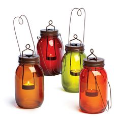Illuminate your home in Autumn colors with our mason jar candle holders.  Available in a variety of classic fall colors!