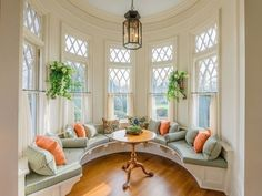 Diamond Shaped Living Room With Bay Windows