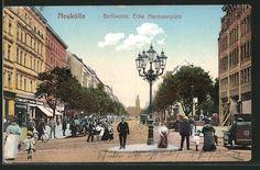 Alte Ansichtskarte: AK Berlin-Neukölln, Gelaufen 1912 Berlinerstr. Ecke Hermannplatz