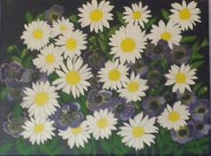 Daisy's and pansies    poster paints
