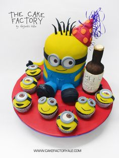 Sculptured Minion cake - The Cake Factory by Alejandra Galan. I love this little guy and his friends. Would you take a look at his party hat! LOVE IT.