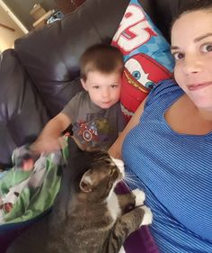 Calvin wanted in on the cuddles. Days like this I'm #thankful that I can work from my couch on my phone cat and boy beside me.   #catsofinstagram #twinsofinstagram  #workfromhome  #sharepositivity