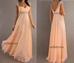 A-line Sweetheart Long Chiffon Prom Dress with Beaded Cap Sleeves
