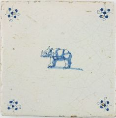 Antique Dutch Delft tile in blue with a rhino, 17th century
