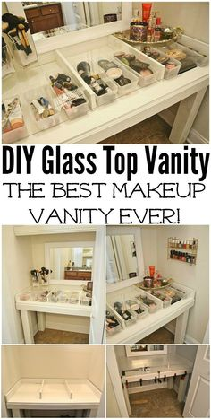 Cheap DIY Makeup Vanity Table Ideas - DIY Glass Top Makeup Vanity Desk Cheap DIY Makeup Vanity Table Ideas Source by summeeerxoxo Ankara Nakliyat