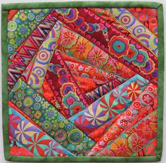 Canton Village Quilt Works ~ Crazy Ribbon Quilt Tutorial Love the colors and would make an interesting wall hanging! Colorful Quilts, Small Quilts, Mini Quilts, Patchwork Quilting, Crazy Quilting, Crazy Quilt Blocks, Quilt Block Patterns, Crazy Quilt Tutorials, Ribbon Quilt