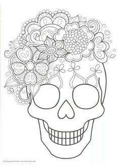 Sugar skull coloring page. Would be pretty to embroider Skull Coloring Pages, Colouring Pages, Coloring Sheets, Coloring Books, Adult Coloring, Day Of The Dead Party, Day Of The Dead Skull, Day Of The Dead Drawing, Fall Halloween