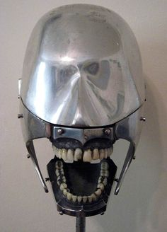 Antique dental training head, c1930. made of aluminium with steel gums and real human teeth.