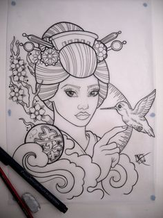 Geisha Tattoo Sketch uploaded by Akira on We Heart It Geisha Tattoo Sketch, Geisha Tattoos Sleeve, Geisha Tattoo For Men, Asian Tattoo Sleeve, Geisha Drawing, Geisha Tattoo Design, Tattoo Sketches, Tattoo Drawings, Tattoo Arm