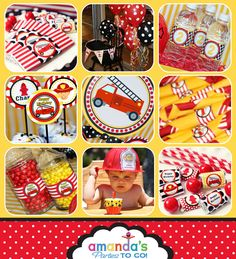 Firetruck Party Firetruck Birthday Fireman by AmandasPartiesToGo