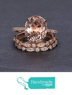 Oval Morganite Engagement 3 Ring Bridal Set Pave Diamond Wedding 14K Rose Gold 10x12mm from the Lord of Gem Rings https://www.amazon.com/dp/B01GSF38RW/ref=hnd_sw_r_pi_dp_W5UxxbV2GRA51 #handmadeatamazon