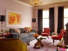 so cool!   Tyler Dawson, pink walls, flamestitch sofa