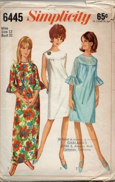 Simplicity 6445 1960s Misses  Shift Dress  Pattern Womens Vintage Sewing Pattern Size 12 Bust 32. $7.00, via Etsy.
