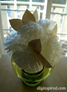Easy Coffee Filter Paper Flowers with Book Page Leaves